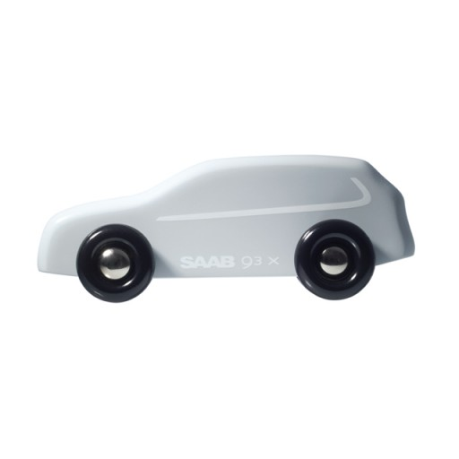2010 White Saab 9-3x Wooden Model Car