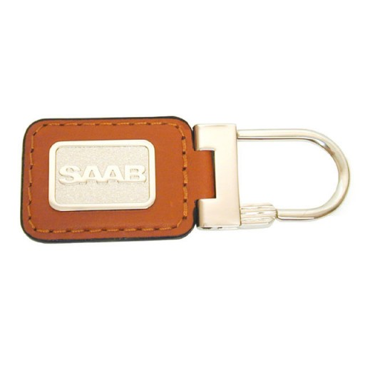 Top Quality SAAB Brown Leather Key Ring